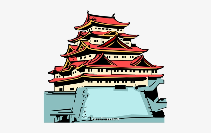 Japanese Temple Royalty Free Vector Clip Art Illustration.