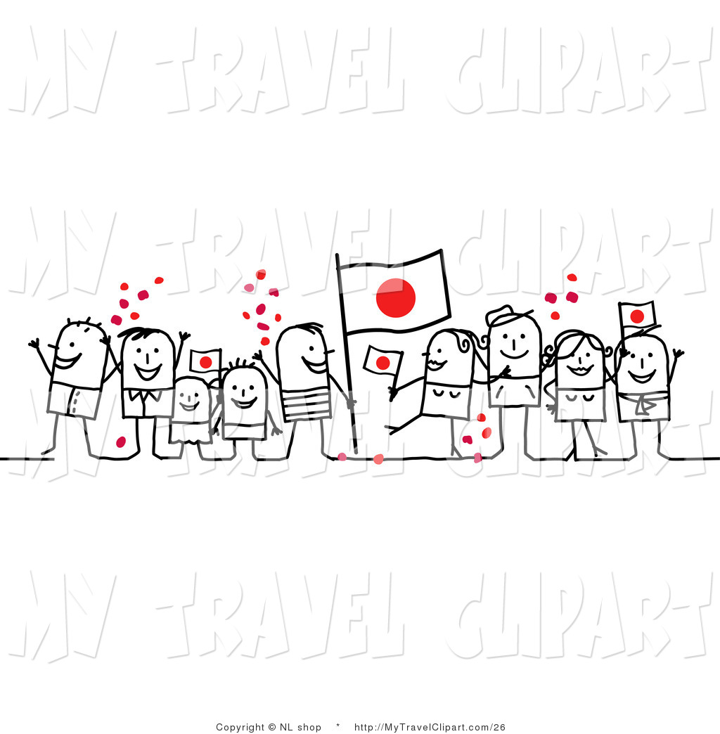 Clipart of a Stick People Character Crowd Celebrating with.