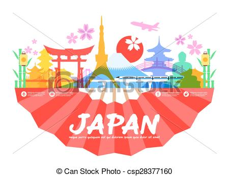 Clip Art Vector of Japan Travel Landmarks.