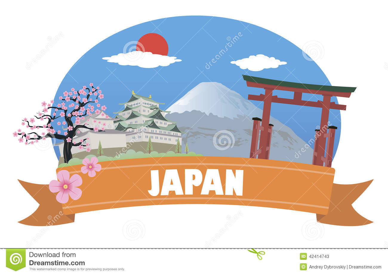 Japan. Tourism And Travel Stock Vector.