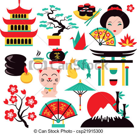 Vector Clipart of Japan symbols set with traditional food and.