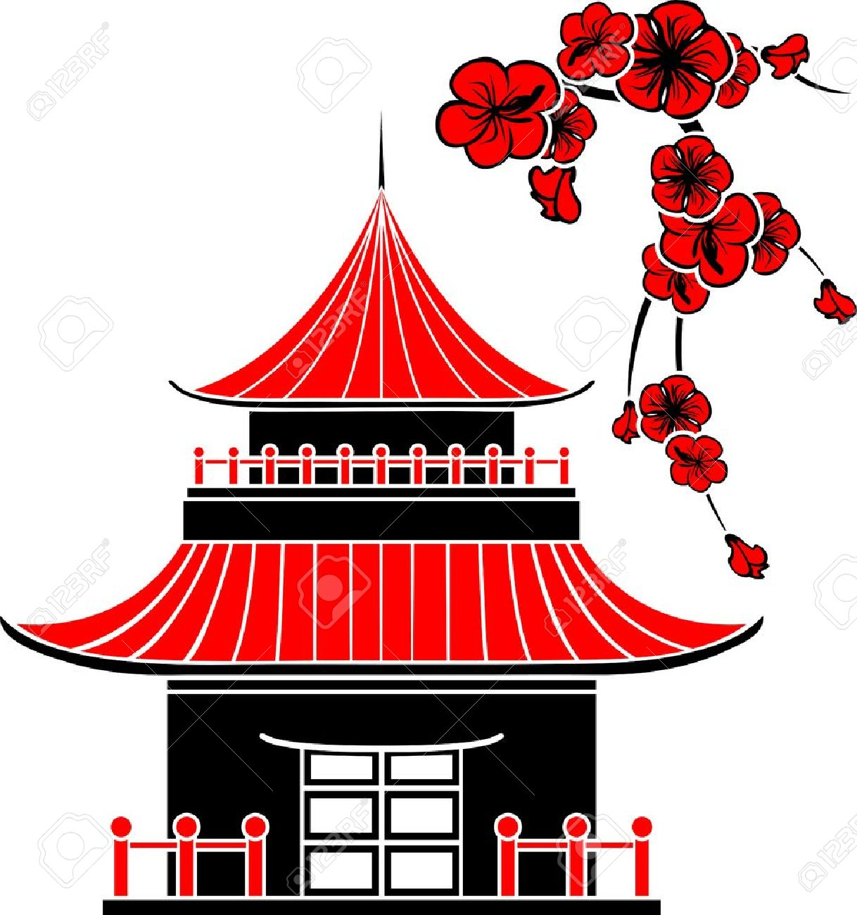 Japanese Building Stock Vector Illustration And Royalty Free.