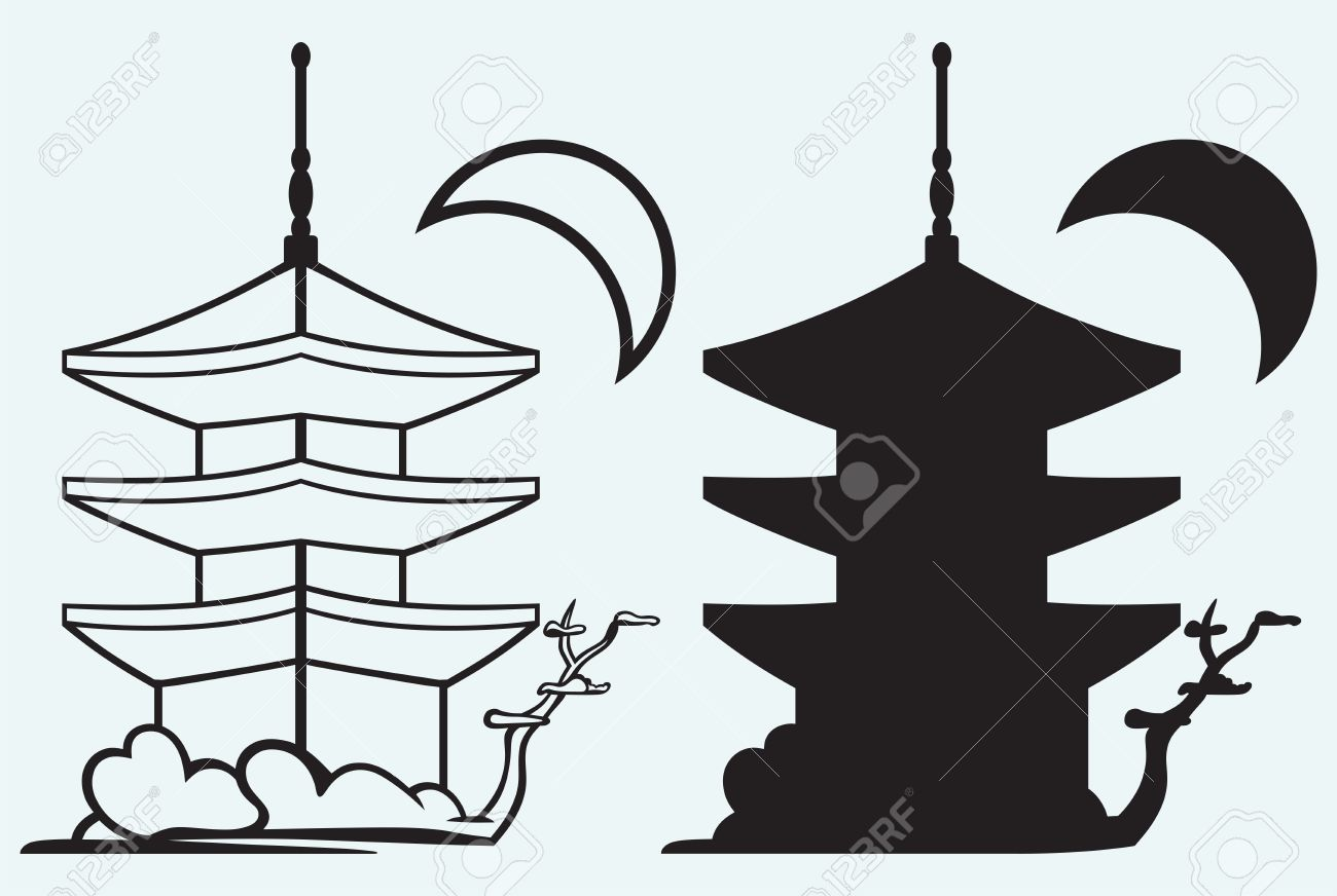 Pagoda Japan Architecture Silhouette Isolated On Blue Background.