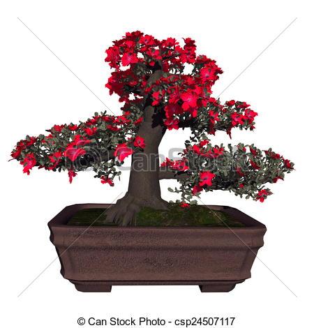 Clipart of Satsuki azalea tree bonsai.