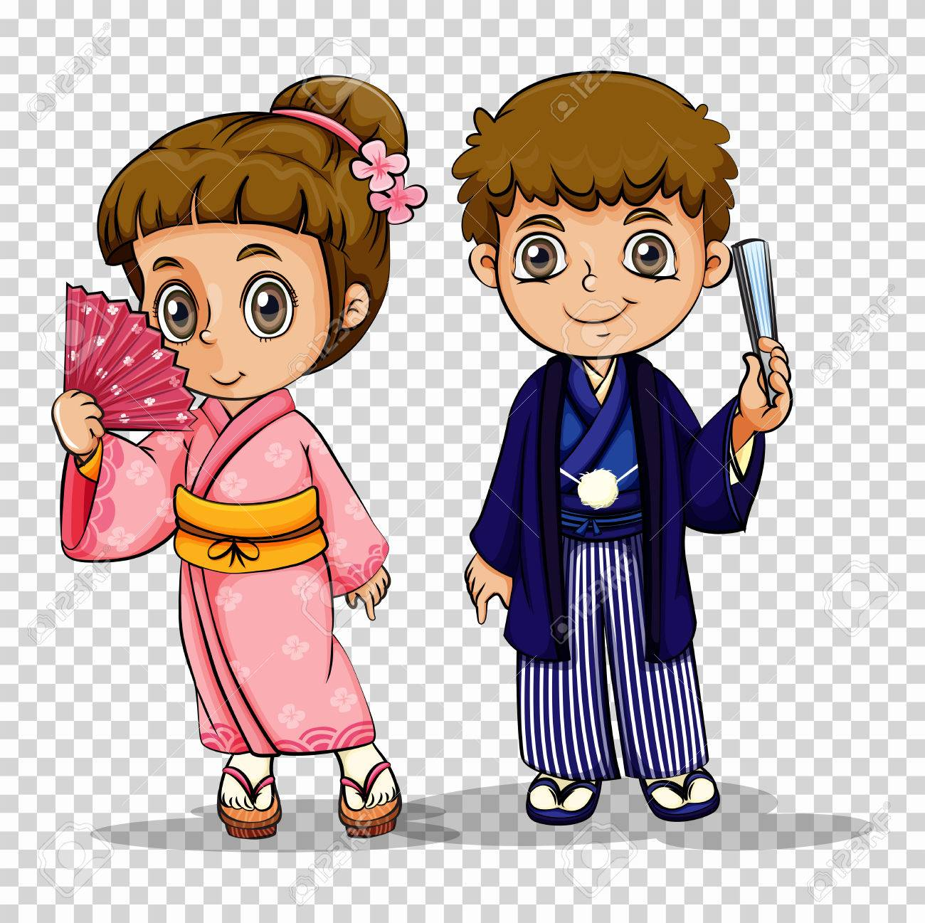 Japanese boy and girl in costume illustration.