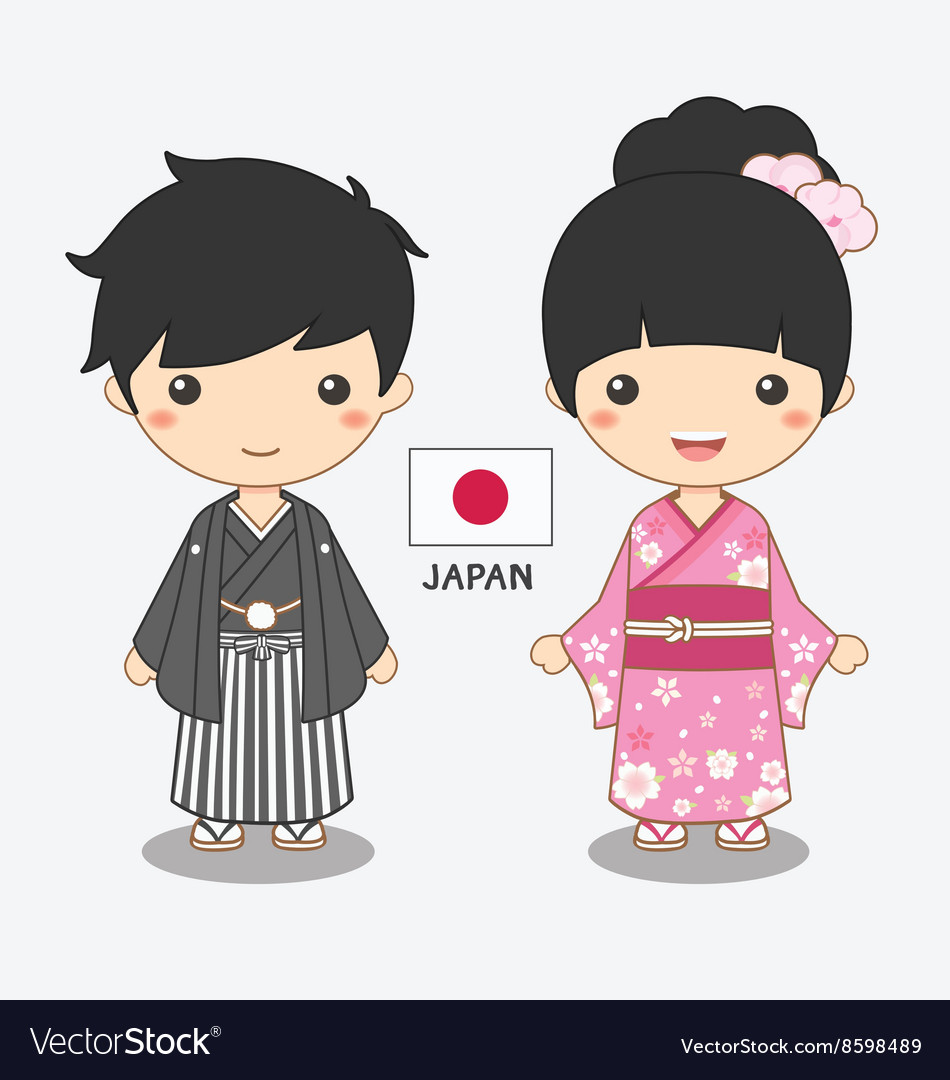 Boy and girl in japanese costume.