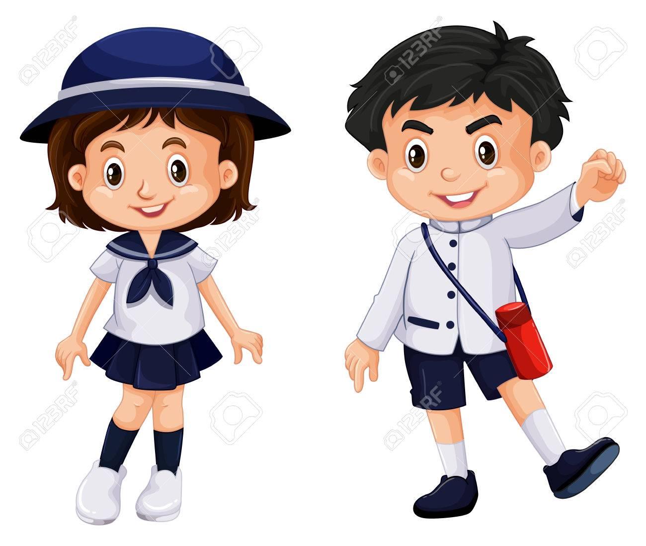 Japanese boy and girl in school uniform illustration.