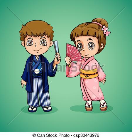 Japanese boy and girl.