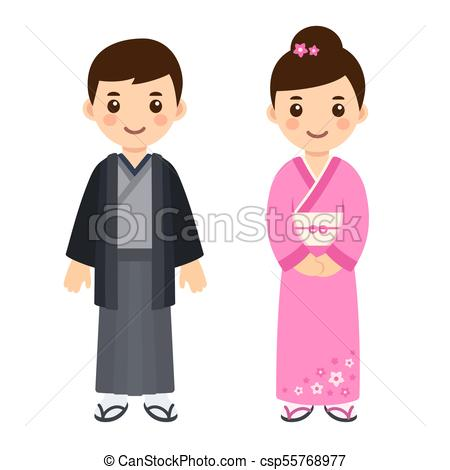 Traditional Japanese costumes.