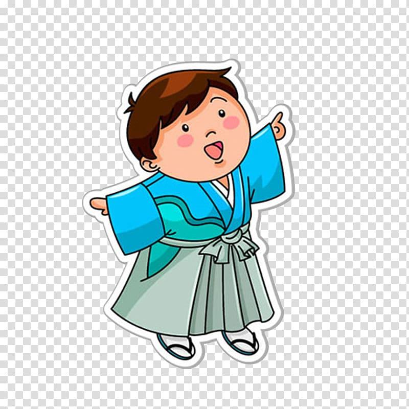 Japanese Cuisine Cartoon Child, Japanese boy transparent background.