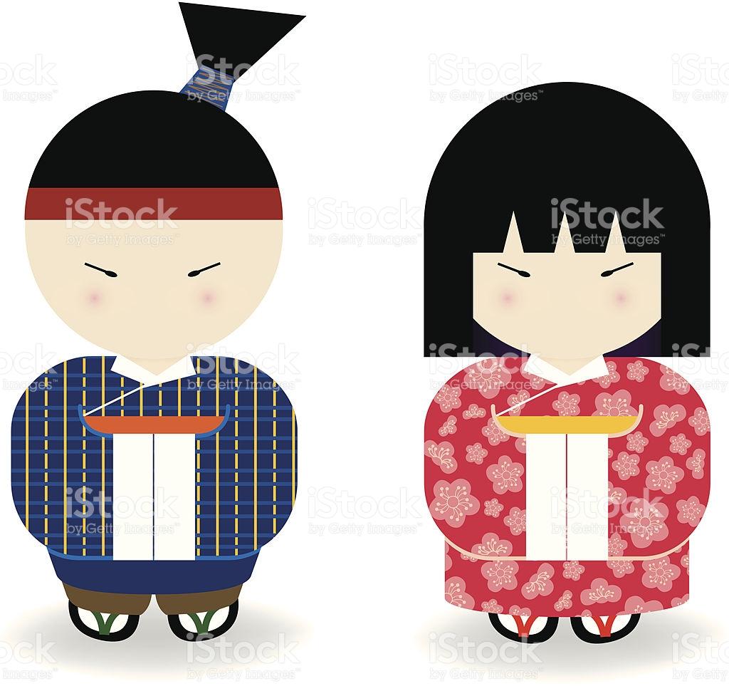Japanese Boy Girl stock vector art 164304037.