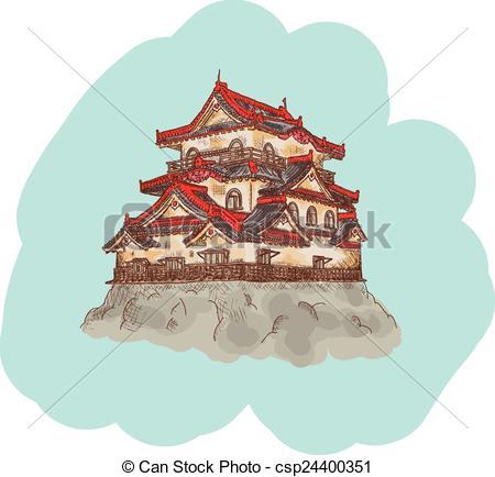 Clipart Vector of Japanese Castle illustration.