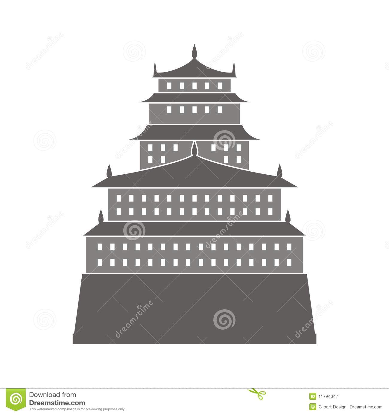 Chinese Castle Illustration Royalty Free Stock Photography.