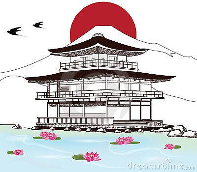 Old Japanese Castle Stock Illustrations.