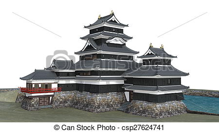 Drawing of Japanese castle csp27624741.
