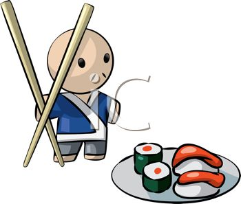 Japanese Character with Chopsticks and a Plate of Sushi.