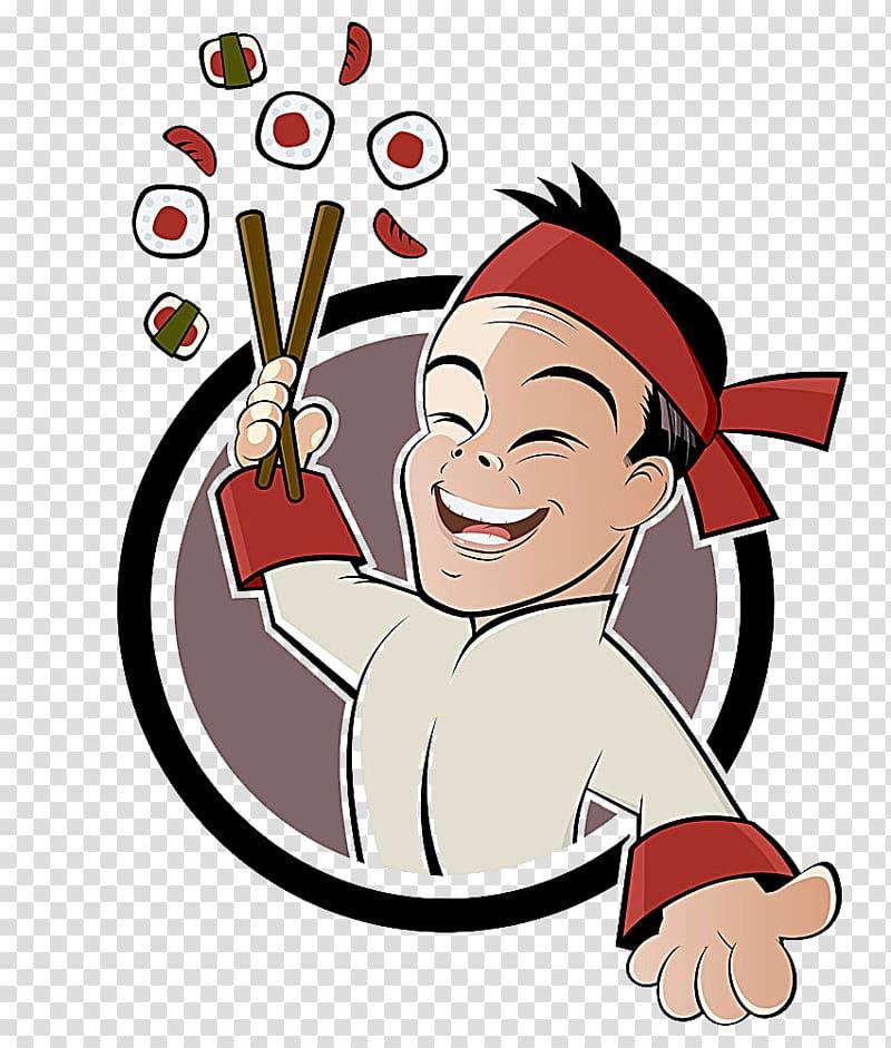 Sushi chef illustration, Sushi Cartoon Japanese Cuisine.
