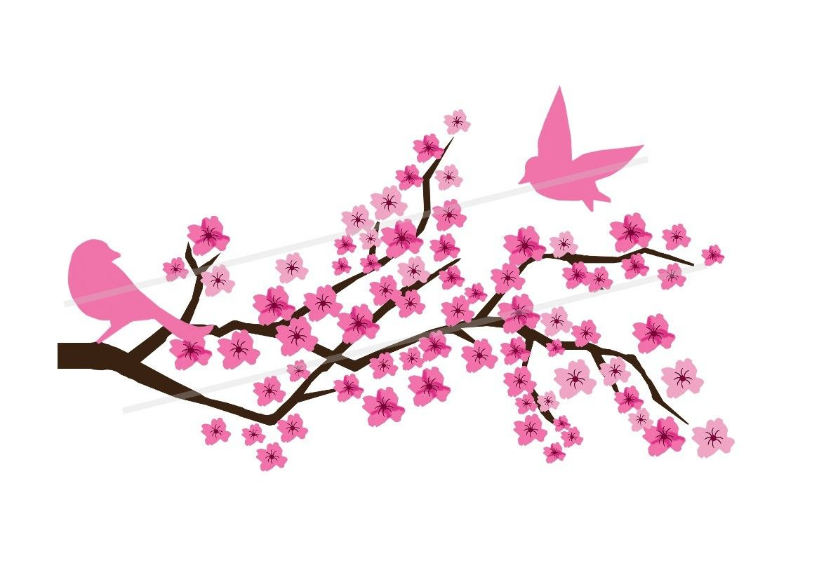 Japanese Cherry Blossom Tree Painting Clipart.