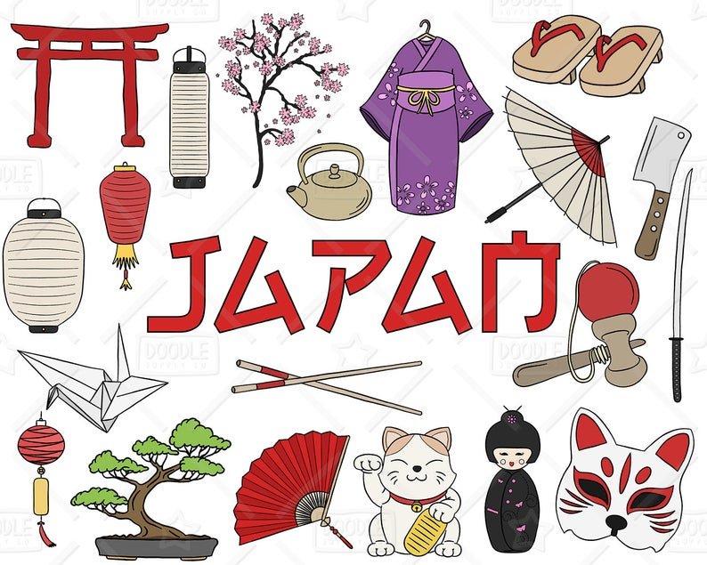 Japan Clipart Vector Pack, Japanese Doodles, Asia Clipart, Japanese  Vectors, Japan Graphics, Japanese Stickers, SVG, PNG file.