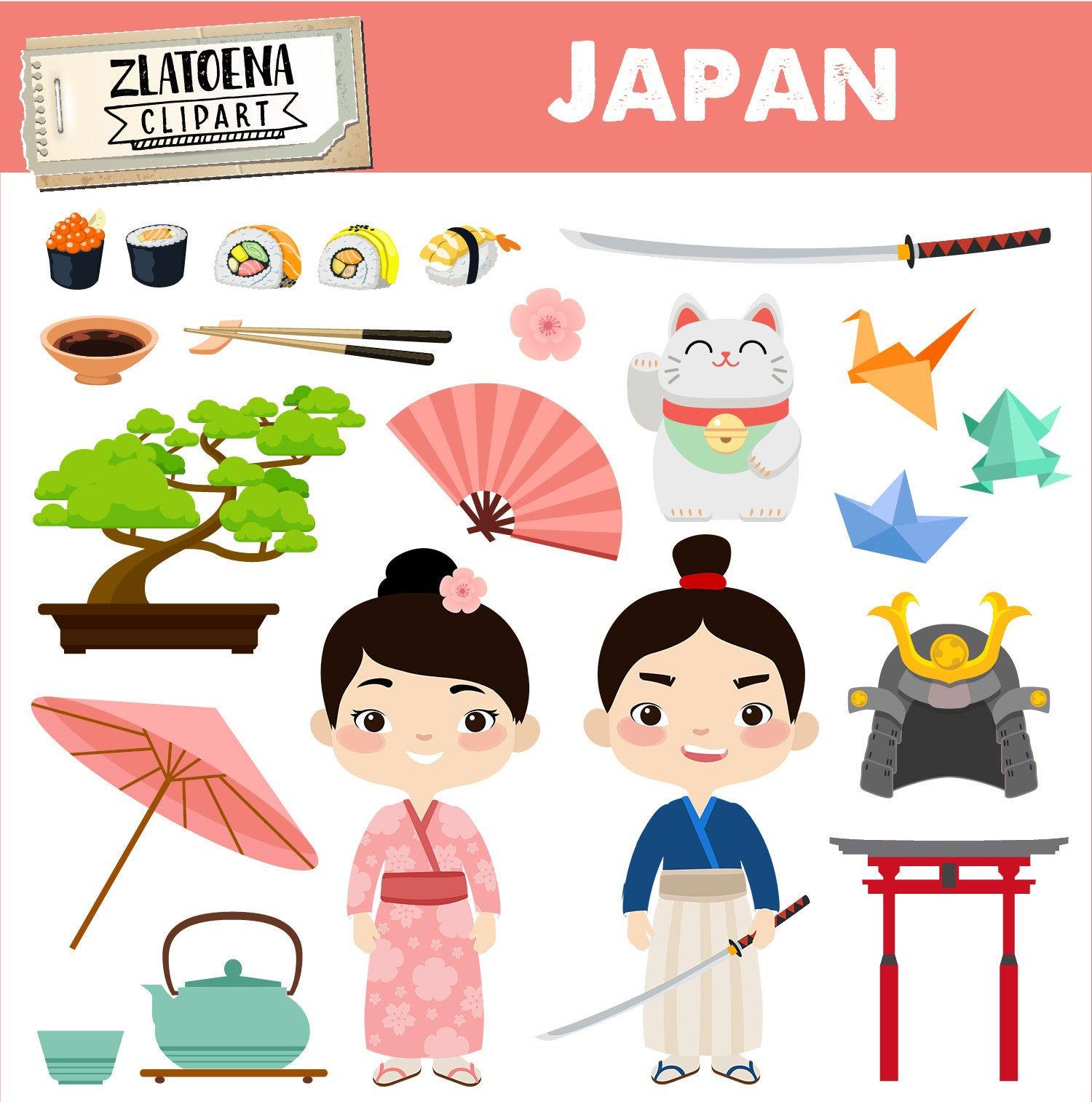 Japan clipart Japanese clip art Geisha Samurai clipart Asia graphics Kimono  clipart Kawaii clip art Japanese Princess Clipart Cherry Blossom.
