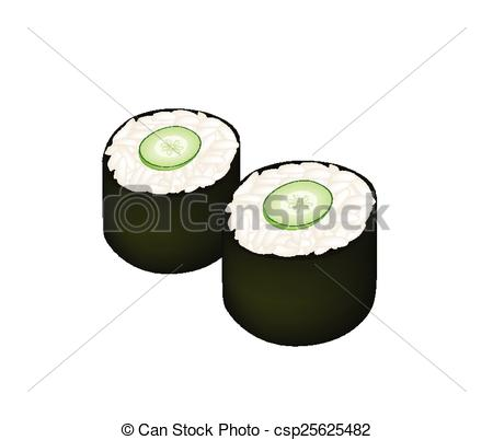 Vector of Cucumber Sushi Roll or Cucumber Maki on White.