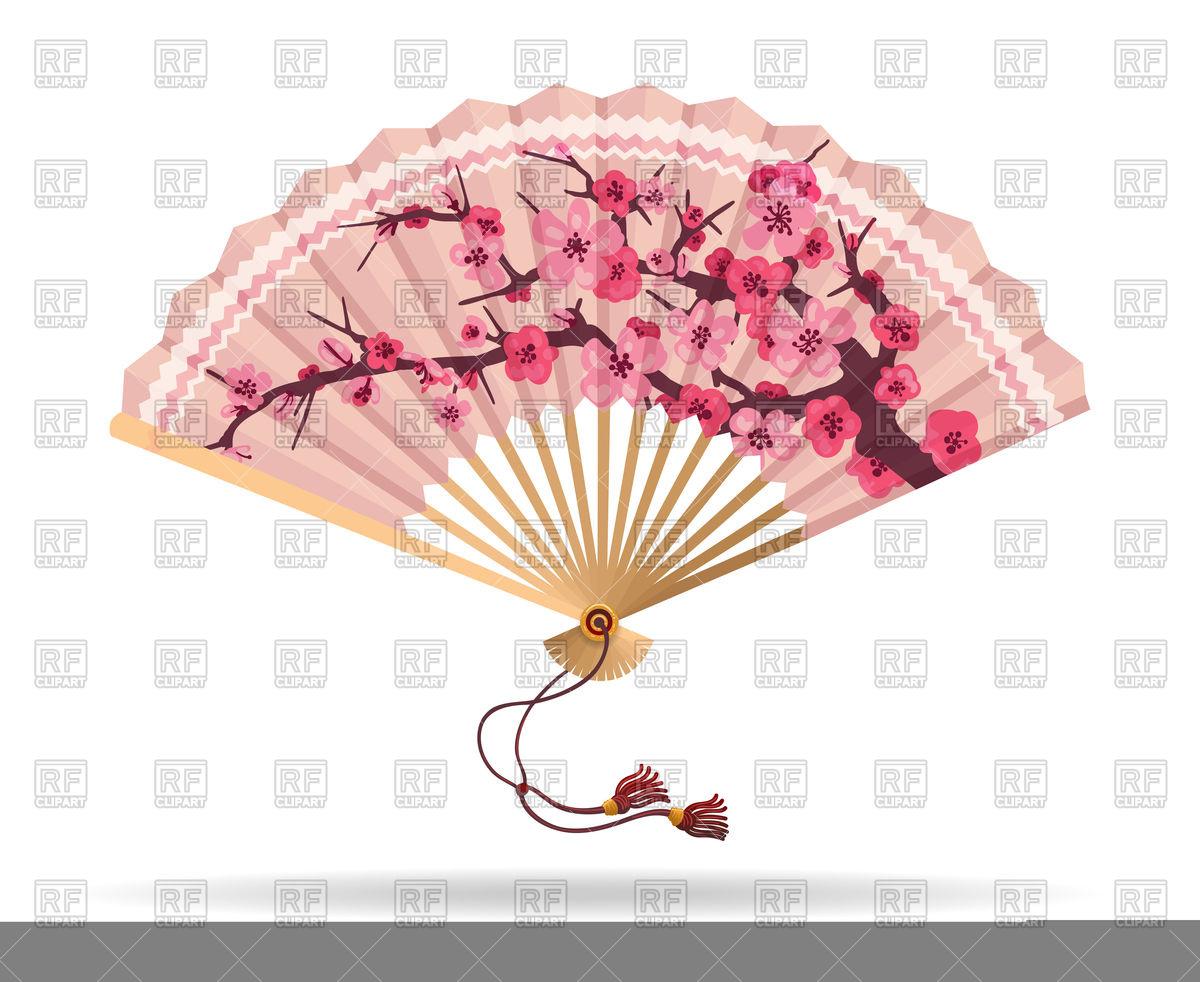 Japan folding fan with sakura branch pattern Stock Vector Image.