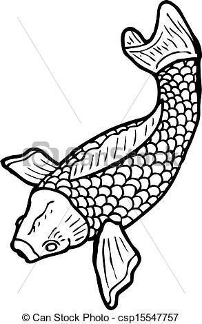 black and white Japanese fish tattoo.