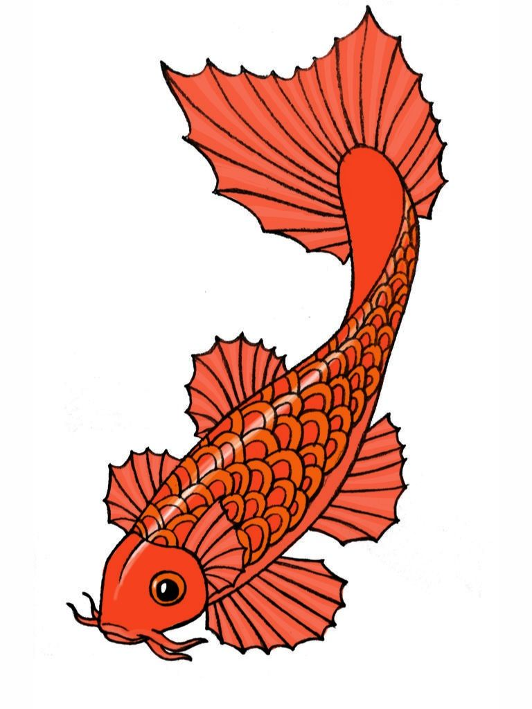 Koi fish kite template used for kids craft project. For smaller.