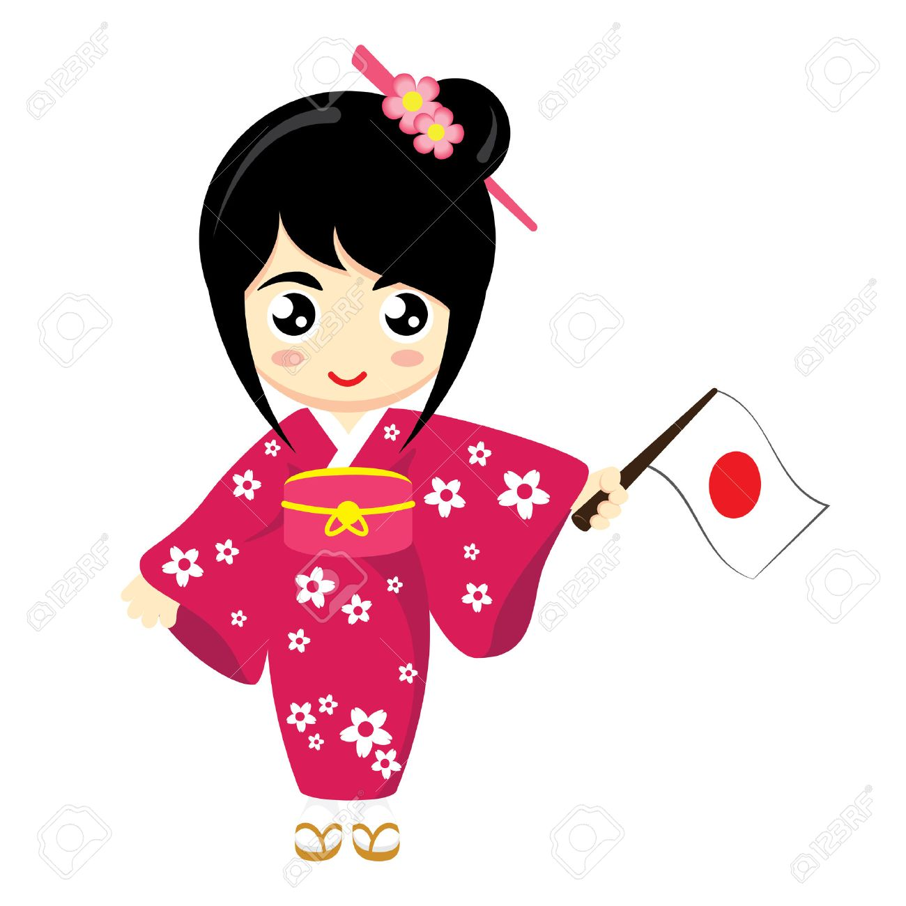 Little Girl Wearing Traditional Dress and Holding Japan flag.