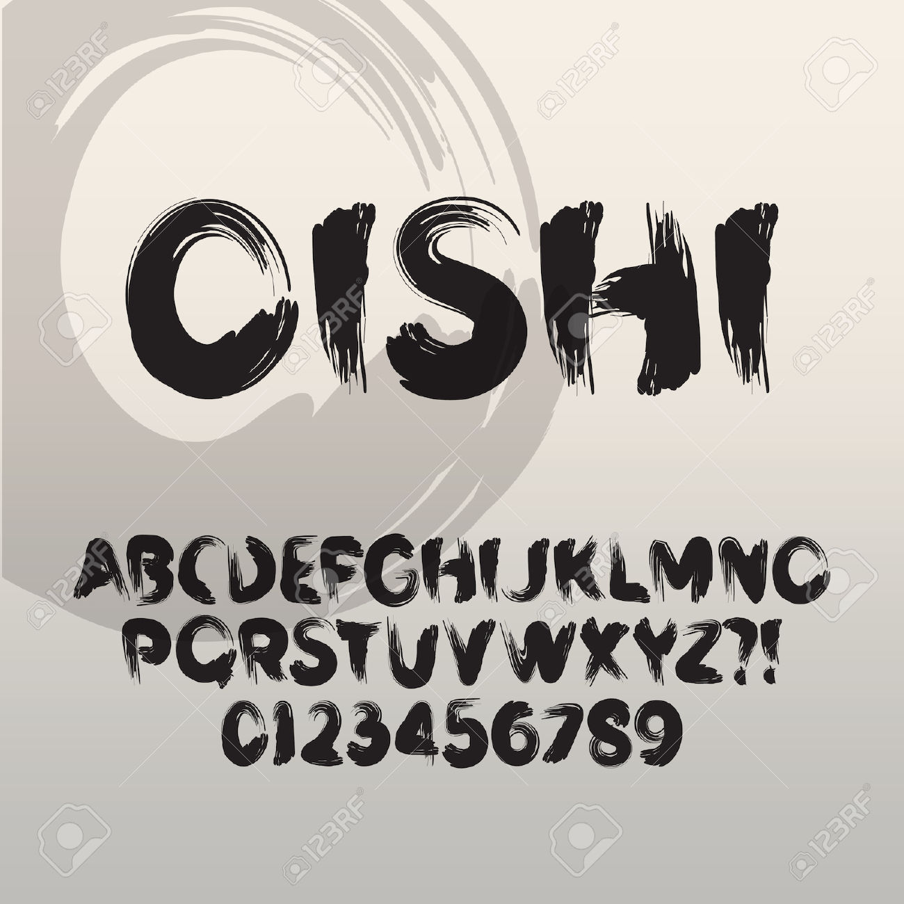 Oishi, Abstract Japanese Brush Font And Numbers Royalty Free.