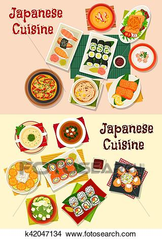 Japanese cuisine seafood sushi icon set Clipart.