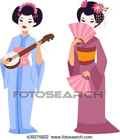 Vector japanese geisha girl Clipart.