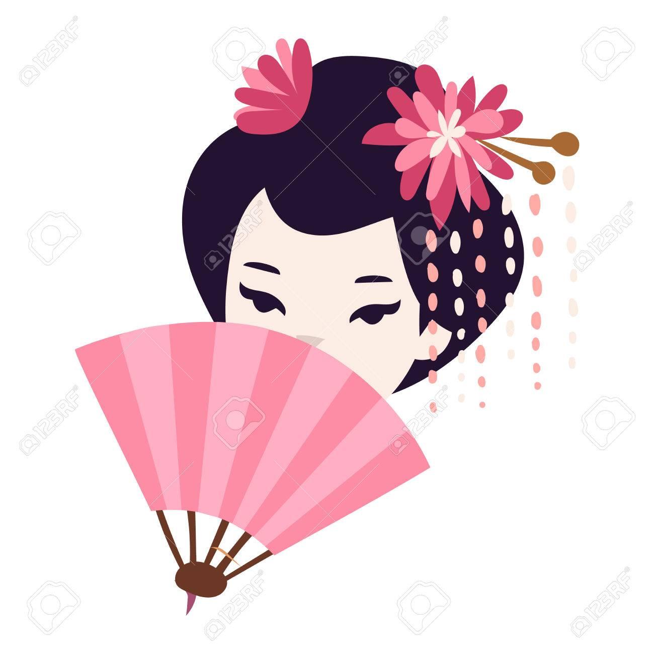 Vector kokeshi doll japanese geisha girl face character. Colorful...