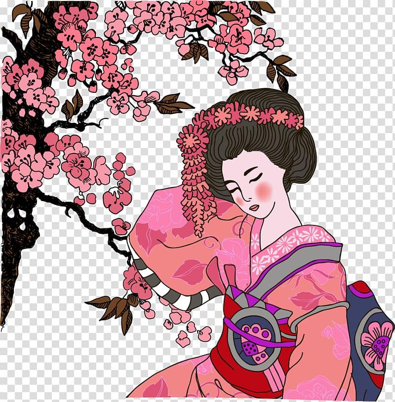 Japan Geisha Graphic design Illustration, Red Japanese geisha.