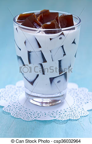 Stock Image of Japanese Coffee Jelly Dessert with sweet cream.