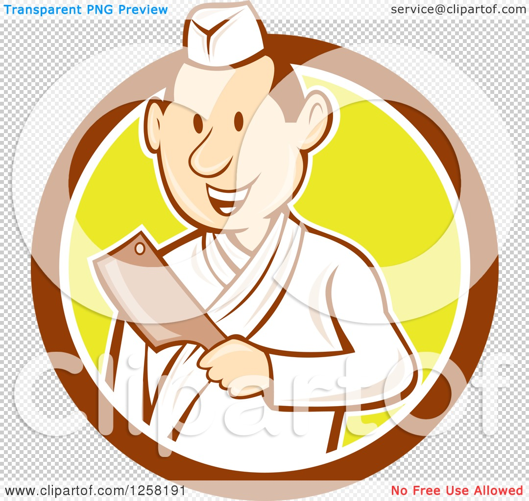 Clipart of a Retro Cartoon Styled Japanese Butcher Man Holding a.