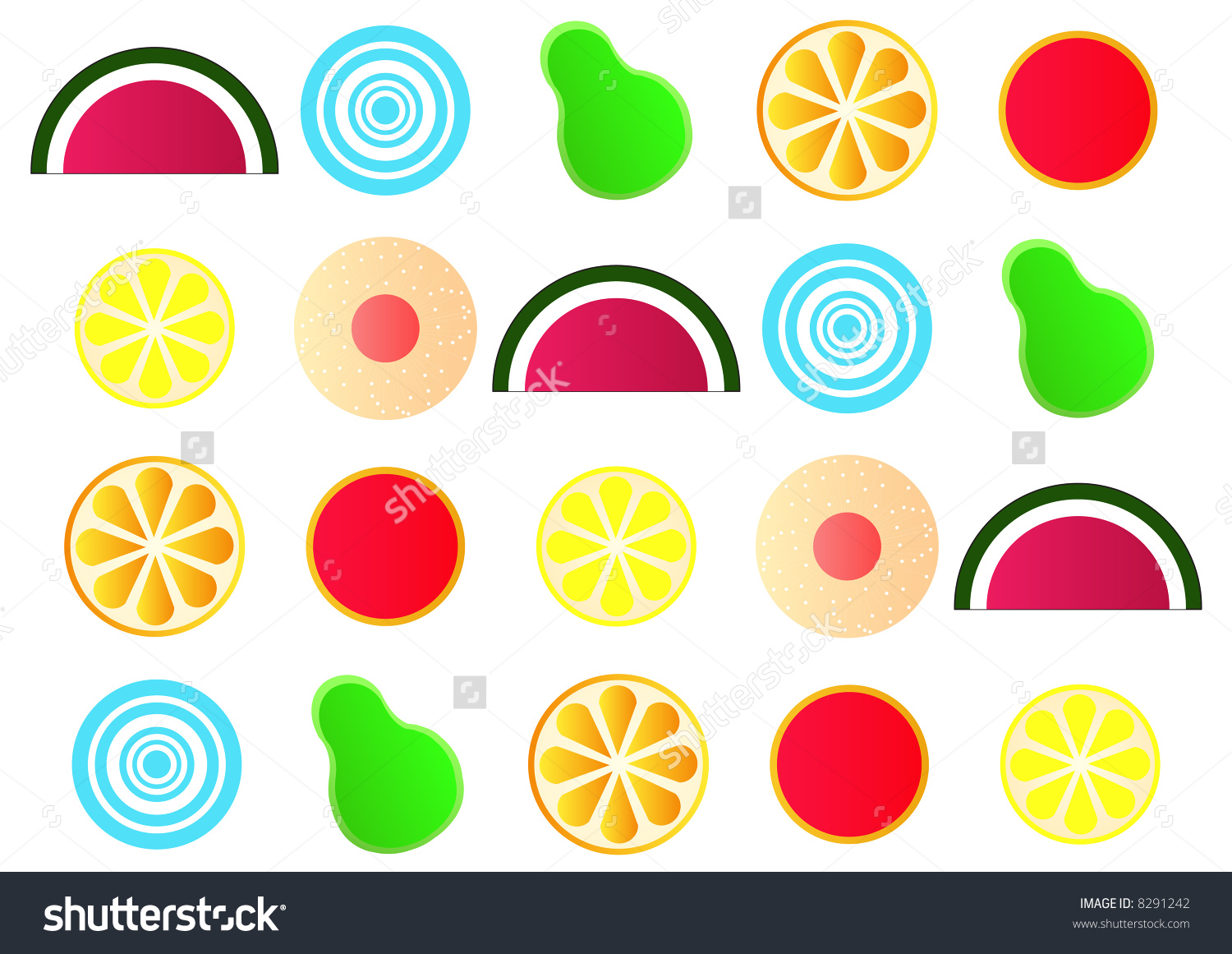 Stylized Japanese Fruit Jelly Gum Shapes Stock Photo 8291242.
