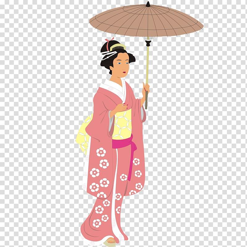 Japan Kimono Illustration, Cartoon Sakura Japanese woman.