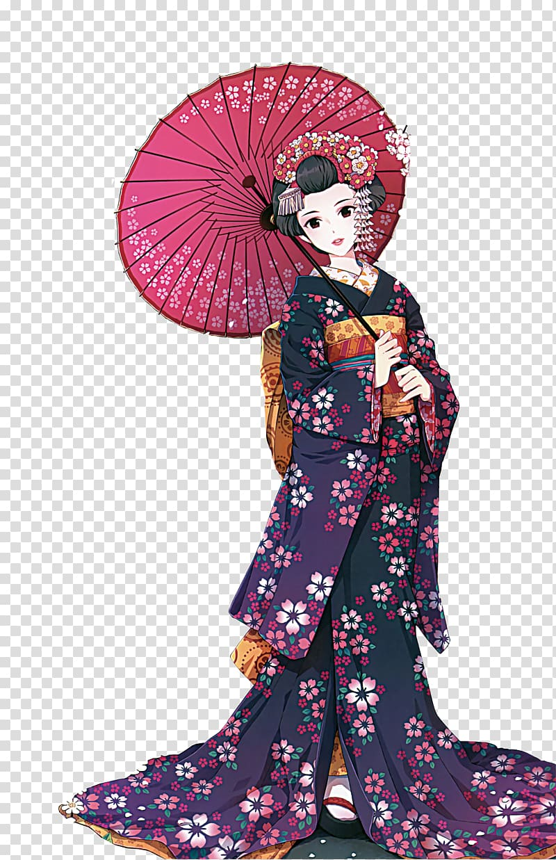 Japanese kimono anime characters transparent background PNG.