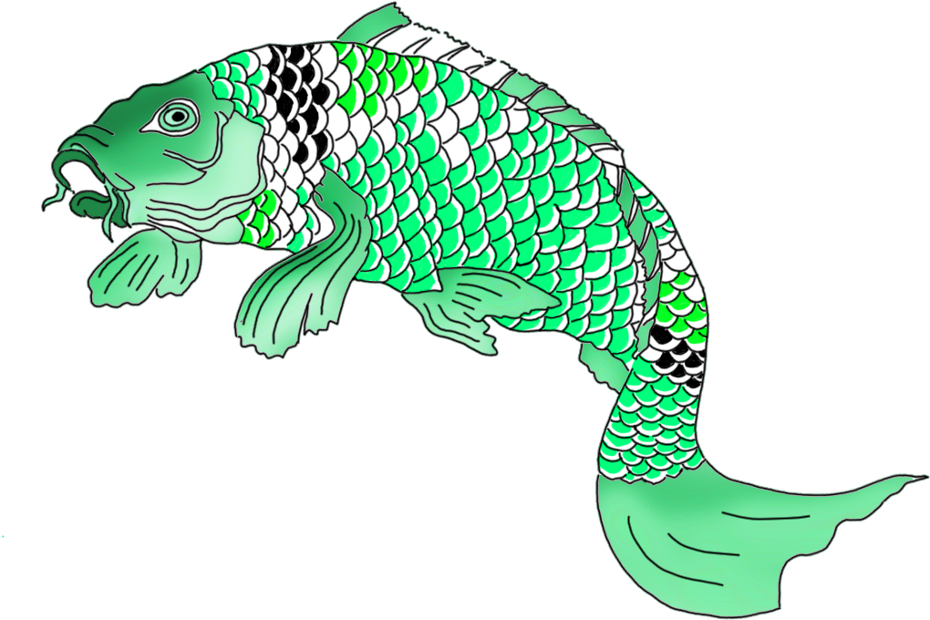 Green Japanese Koi Fish Clipart Green Koi Fish.