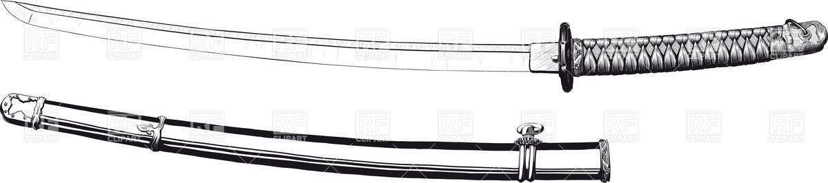 Japanese katana sharp long sword and scabbard Vector Image #30642.