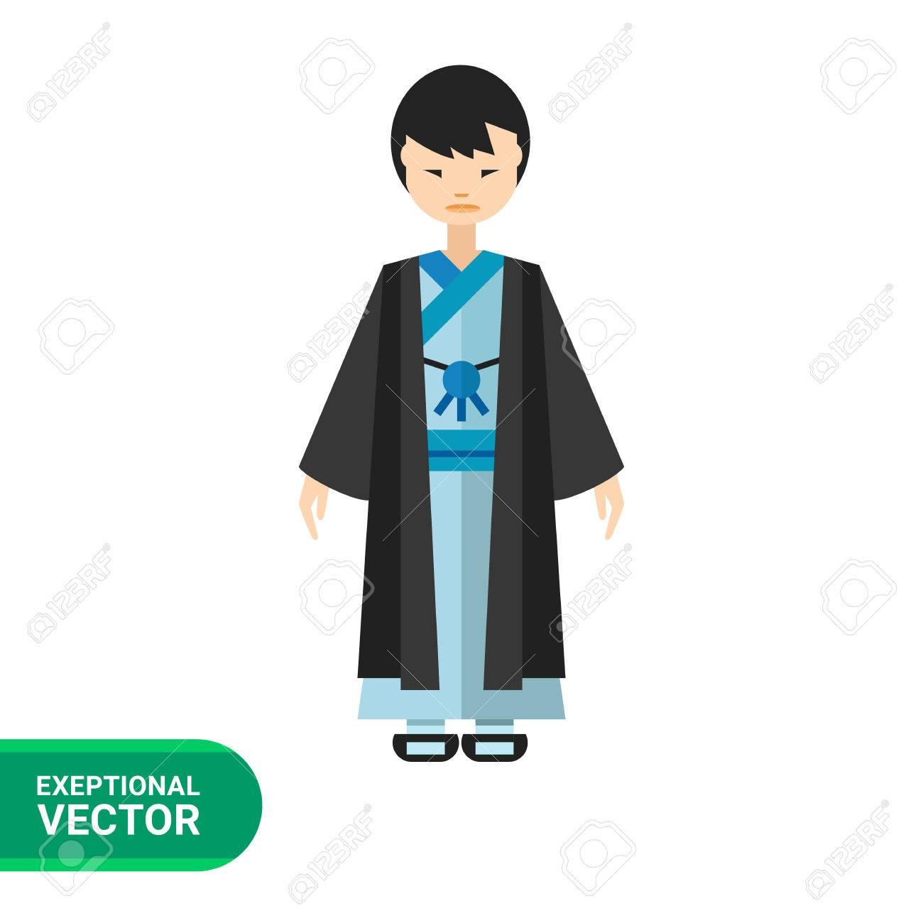 Image of Japanese man wearing blue kimono and black haori.