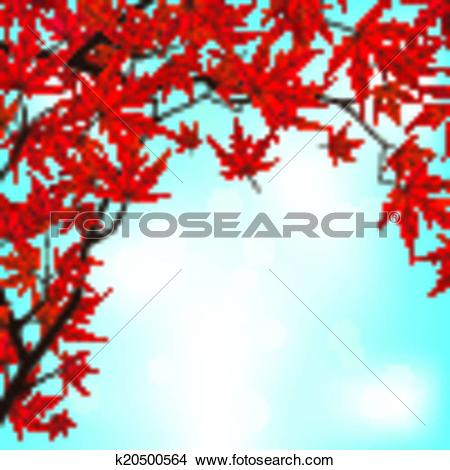 Clipart of Red Japanese Maple leaves against blue sky. EPS 8.