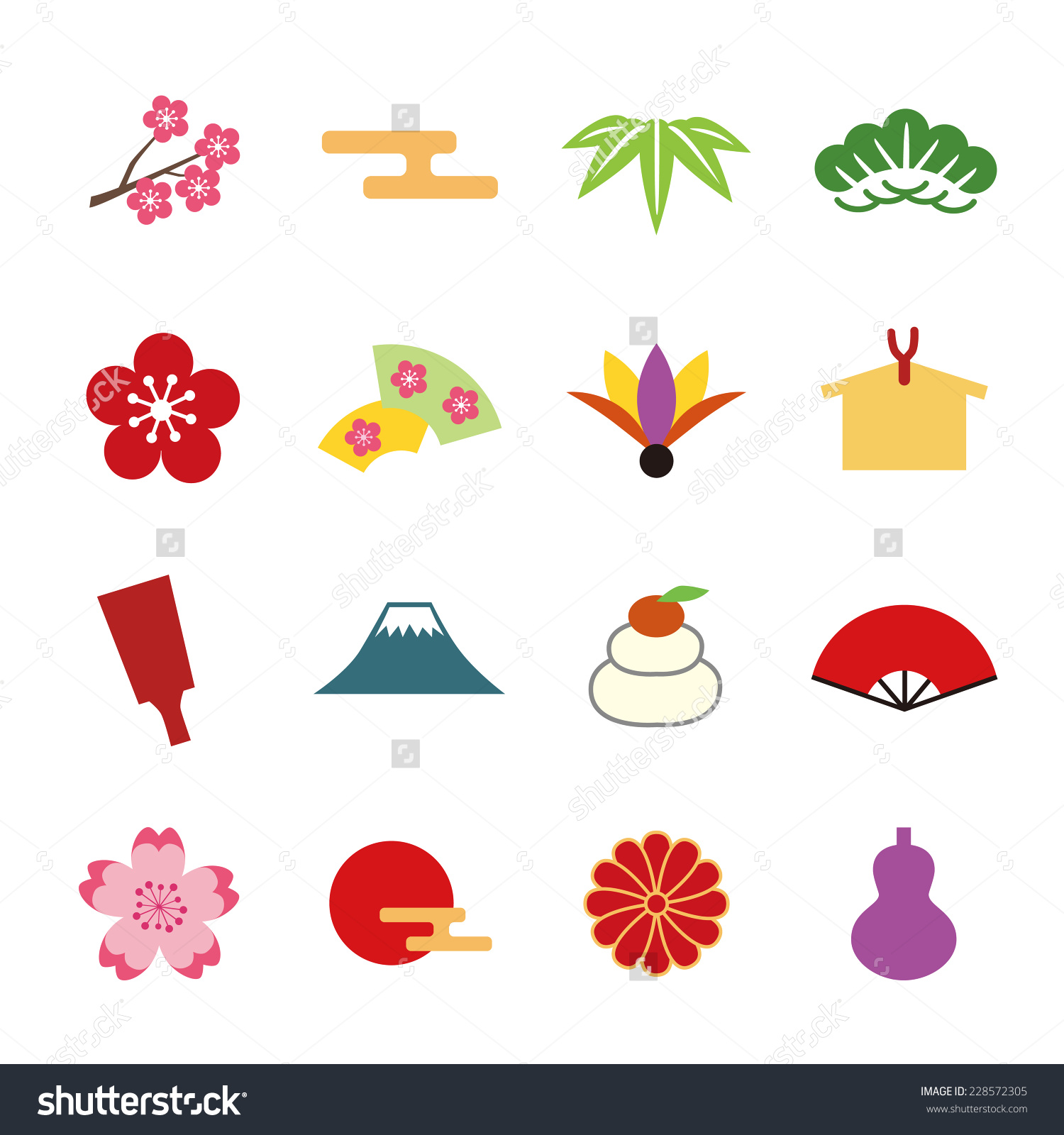 Japanese New Years Icon Stock Vector 228572305.