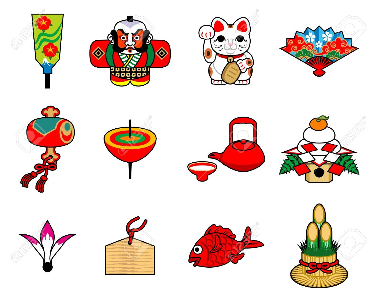Japanese Luck Item In New Year Royalty Free Cliparts, Vectors, And.