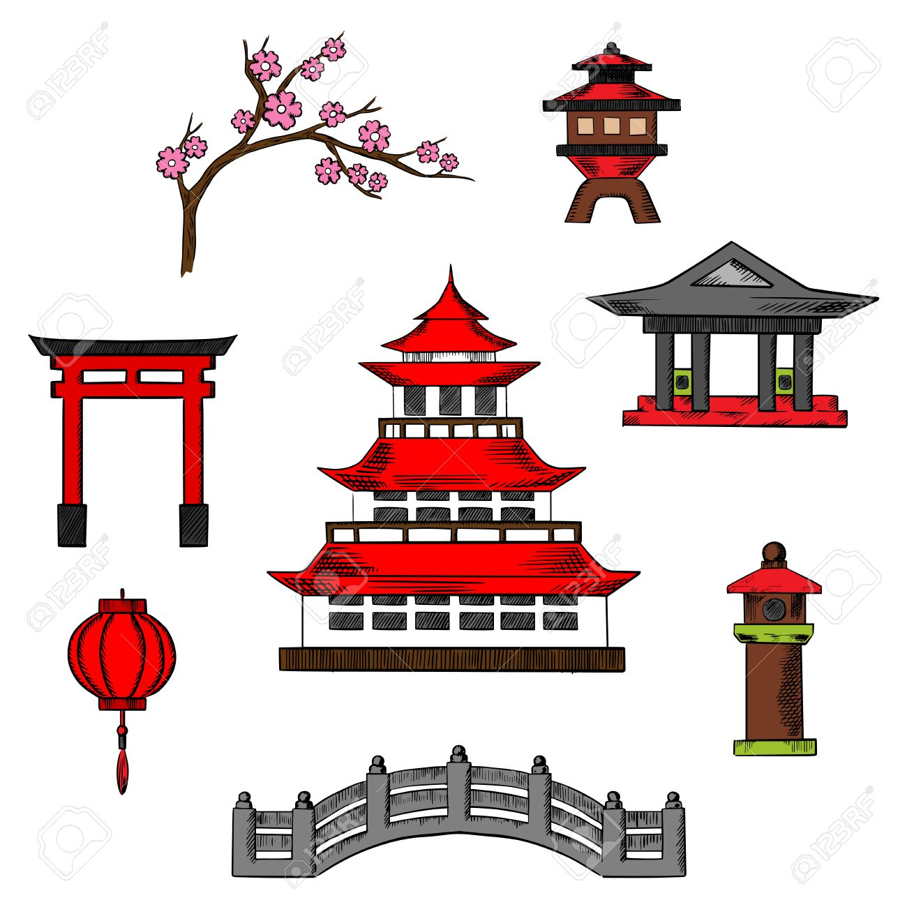 Japan travel and culture icons of traditional japanese pagoda...