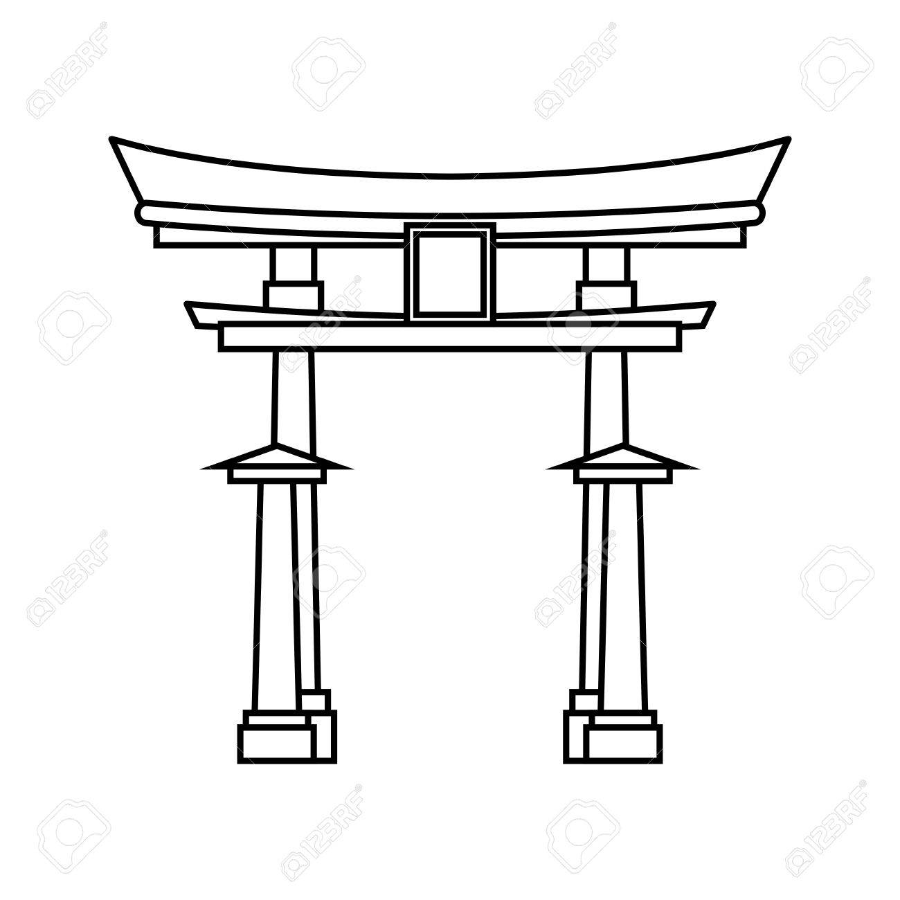Japanese pagoda temple icon vector illustration graphic design.