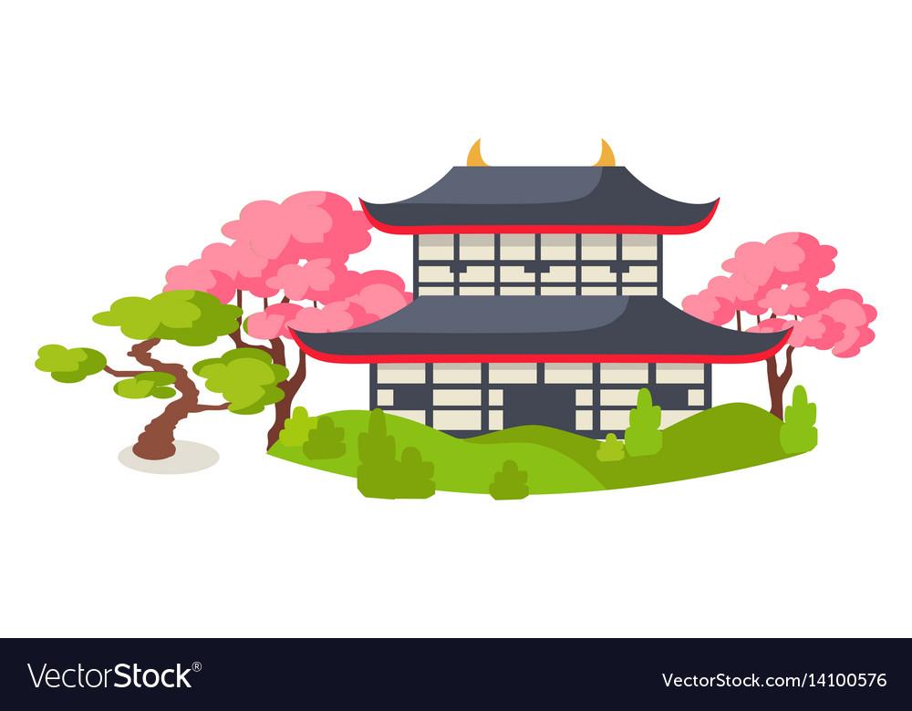 Japanese pagoda in cherry blossom flat.