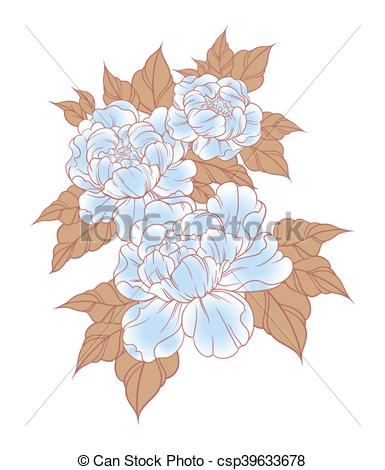 Vectors Illustration of Hand drawn peonies in japanese tattoo.