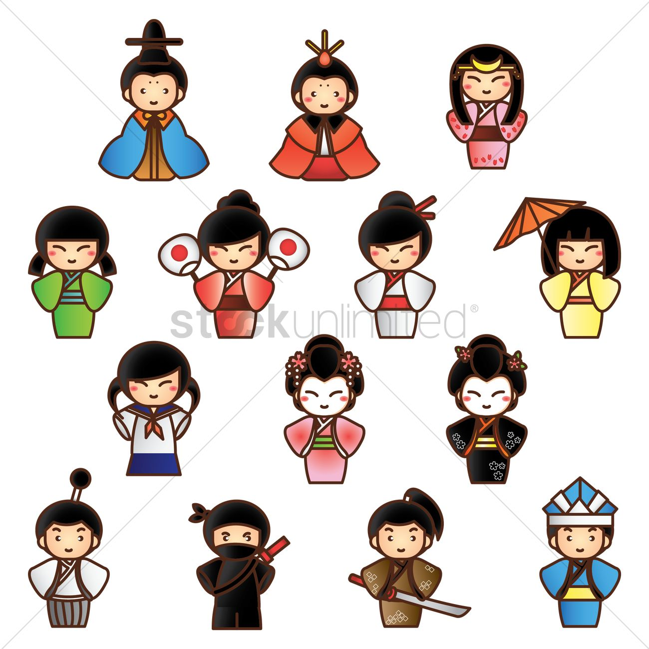 Collection of traditional japanese people Vector Image.